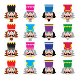 Christmas nutcracker - soldier figurine head icons set Stock Photography