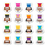 Christmas nutcracker - soldier figurine head icons set. Vector icons set of Xmas nutcrackers heads  on white Royalty Free Stock Photo