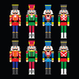Christmas nutcracker - soldier figurine icons set on black. Vector icons set of Xmas nutcrackers statues  on black background Royalty Free Stock Images