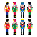 Christmas nutcracker - soldier figurine icons set. Vector icons set of Xmas nutcrackers statues isolated on white Royalty Free Stock Photos