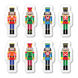 Christmas nutcracker - soldier figurine icons set. Vector icons set of Xmas nutcrackers statues isolated on white Stock Photography