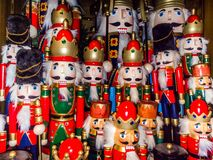 Christmas nutcracker toy soldier collection. Various traditional. Christmas nutcrackers stand together as decoration stock photos