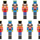 Christmas nutcracker vector seamless pattern - soldier figurine repetitive ornament with snowflakes on white background. Xmas nutcrackers statues repetitive royalty free illustration