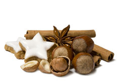 Christmas nuts decoration Royalty Free Stock Images