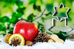 Christmas nuts, fruit and spices Royalty Free Stock Image