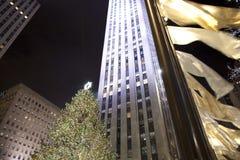 Christmas NYC. Rockefeller Plaza on Christmas in NYC Stock Photos
