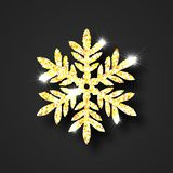 Christmas, Christmas object, golden snowflake with shadow, highlights and glitter. vector illustration
