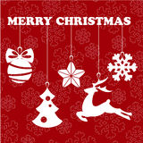 Christmas object hanging line red isolated background Royalty Free Stock Photo