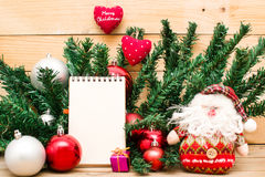 Christmas object and notebook Royalty Free Stock Images