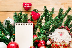 Christmas object and notebook Royalty Free Stock Photo