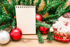Christmas object and notebook Stock Photography