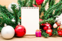 Christmas object and notebook Stock Image