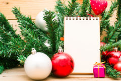 Christmas object and notebook Stock Images