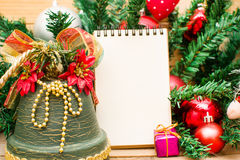 Christmas object and notebook Royalty Free Stock Photography