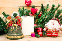Christmas object and notebook Royalty Free Stock Image