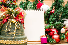 Christmas object and notebook Stock Photo