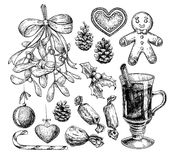 Christmas object set. Hand drawn vector illustration. Xmas icons. Collection. Holiday engraved decorations. Holly, mistletoe, gingerbread man, mulled wine, pine vector illustration