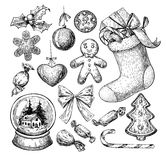Christmas object set. Hand drawn vector illustration. Xmas icons Royalty Free Stock Image