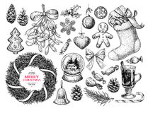 Christmas object set. Hand drawn vector illustration. Xmas icons. Collection. Holiday engraved decorations. Holly, mistletoe, wreath, sock, stocking, gift, fir vector illustration