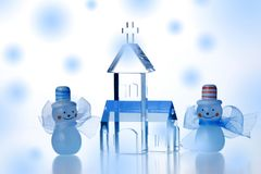 Christmas Objects. Two snowmen beside crystal church isolated on white background Stock Photography