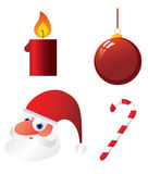 Christmas objects. Santa, candle, christmas bulb, cane Stock Photo