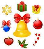 Christmas objects on the background Royalty Free Stock Photos