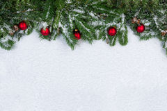 Christmas objects covered with fresh snow Stock Image