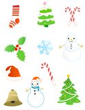 Christmas objects / elements. Christmas elements/ Objects graphic collection. including Christmas tree, Snow man, stockings, candy cane , holly, snow flakes Stock Images