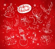 Christmas objects on festive red background. Vector vintage illustrations set with hand drawn Christmas objects on festive red background with light sparkles Royalty Free Stock Photos