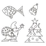 Christmas ornaments and symbols. Christmas objects. Fish, bell, Santa Claus and tree. Coloring book Royalty Free Stock Photo