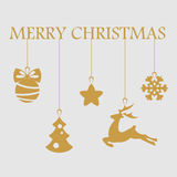 Christmas objects hanging line gold isolated background Stock Photos