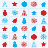 Christmas objects red and blue. Merry christmas and a happy newyear Royalty Free Stock Photography
