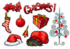 Christmas objects set Royalty Free Stock Photography