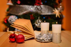 Christmas objects. Some Christmas objects on wooden table Royalty Free Stock Photos