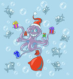 Christmas octopus. Christmas illustration of octopus giving presents to fish Royalty Free Stock Image