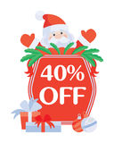 Christmas 40 Off Vector. Santa with Sale Poster Stock Image