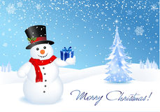 Christmas Offer. This image is a vector file representing a 3d happy snowman with a gift,  all the elements can be scaled to any size without loss of resolution Stock Photography