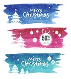 Christmas Offer Banner Design Template. Christmas Offer Banner Design Set with Watercolor Background and 50% Discount Tag Stock Photo