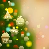 Christmas Offer on Bokeh Effect Background Stock Photos
