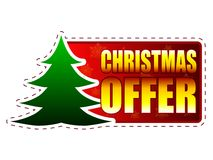 Christmas offer and christmas tree on red banner with snowflakes Royalty Free Stock Photo