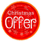 Christmas offer on circular drawn red banner with snowflakes Royalty Free Stock Images