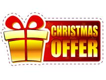 Christmas offer and gift box on red banner with snowflakes Stock Images