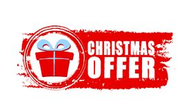 Christmas offer and gift box on red drawn banner Stock Photos