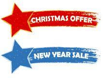 Christmas offer, new year sale - two drawn banners Stock Photography