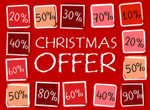 Christmas offer and percentages in squares - retro red label Royalty Free Stock Image