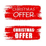 Christmas offer on red drawn banners Royalty Free Stock Photos