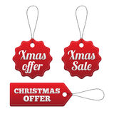 Christmas offer red stitched tags set. Royalty Free Stock Photos