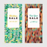 Christmas offer. Shopping sale design. Copy space. New Year offer. Colorful banner set. Abstract texture. Discount flyer design. Frame, leaflet or web banner Vector Illustration