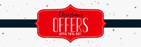 Christmas offers and sale banner design. Vector stock illustration