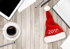 Christmas Office Background with Santa Hat Royalty Free Stock Image